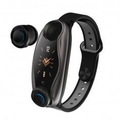DrPhone PureSport PROx - Sport Horloge met Ingebouwde Oordoppen - Bosch Accelerometer - TWS Bluetooth In-Ear Oordopjes - Zwart