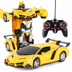 DrPhone ATR1 2 In 1 RC Auto Transformatie Robot - Sport Voertuig Model met Afstandsbediening & Radio besturing - Geel