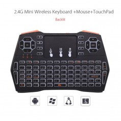 DrPhone VTI8+ Wireless Toetsenbord + Touchpad met Backlit - RF 2.4G Draadloos – QWERTY + muis + multimediabediening + DPI