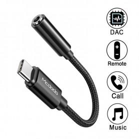 DrPhone - MCD USB-IF Certificatie - Type C naar 3.5mm DAC HIFI Audio Kabel + Bellen / Muziek / Volume Controle