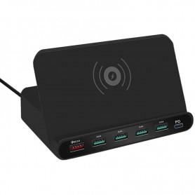 DrPhone SmartC5 Draadloos Laadstation - USB HUB Oplader - 1 Qi Lader- 4x 2.4A & 1x Qualcom 3.0 & PD opladen met Standhouder