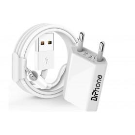 1 Pack Gecertificeerde DrPhone® - USB Lader Stekker Oplader + 2 Meter Kabel - Safe Charge - Apple iPhone / iPad / iPod