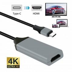 DrPhone - 4K x 2K 30hz (3840 x 2160 HD) TYPE C HDMI Adapter USB C naar HDMI support 1080p - Alt DP Mode -0,20 cm kabel -