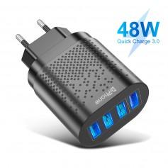 DrPhone – HALO2 Snel Lader Thuislader- 4 Poorten 48W Lader - USB 3.1A + QC 3.0 - Tablet / Smartphone Oplader – Zwart