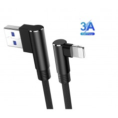 DrPhone D9 Lightning Dubbele 90° Haakse Nylon Gevlochten 2.4A kabel – 1 Meter -Datasynchronisatie & Snel opladen – Zwart