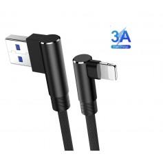 DrPhone D9 Lightning Dubbele 90° Haakse Nylon Gevlochten 2.4A kabel – 2 Meter -Datasynchronisatie & Snel opladen – Zwart