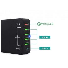 DrPhone WL3 6-poorten Wandoplader -60W USB-laadstation Hub met Qualcom 3.0 & Type C Input – SmartIC Technologie- Zwart