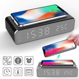 DrPhone - Klok - Draadloze Oplader - Led - Elektrische Wekker - Telefoon Oplader