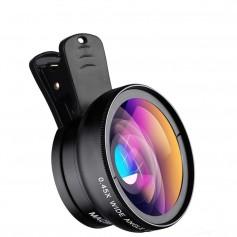 DrPhone APEX 2in1 Groothoek & Macro lens- Wide Angle & Macro -HD Lens - Universeel - Zwart