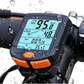 DrPhone FCS1 Fietscomputer - Draadloze fiets snelheidsmeter - Kilometerteller - 4-Lijn display met achtergrondverlichting