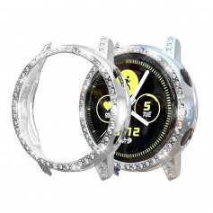 DrPhone GA1 – Samsung Galaxy Active 2 - 40MM - Watchband TPU Case - Diamanten Hoesje - Zilver