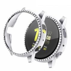 DrPhone WC1 – Samsung Galaxy Active 2 - 44MM - Watchband TPU Case - Diamanten Hoesje - Zilver