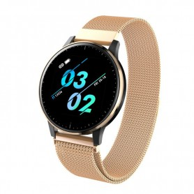 DrPhone V20 Class - Horloge + Smartwatch - 1.3 Inch Kleurenscherm - Stappenteller - Hartslagmonitor - Touchscreen - Goud