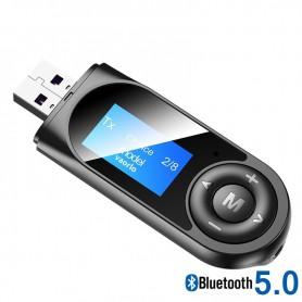 DrPhone StreamX9 Draadloze 5 in 1 RX-TX- Bluetooth 5.0-Hifi -Audio-Ontvanger - Zender met Display – RX/TX modus - Zwart