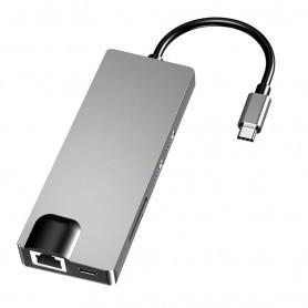 DrPhone COM2 - 8 in 1 hub - USB-C To H0dmi – Lan - Type-c – SD Card – USB 3.0 *2 – Hdmi – VGA – Tf/Sd Card - Zwart