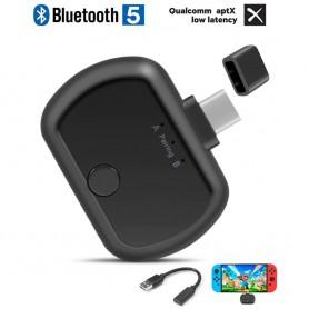 DrPhone NINDO AptX - USB Bluetooth 5.0 Audio Dongle - USB-C Adapter Voor Computer PC / Laptop / Nintendo Switch / TV / PS4