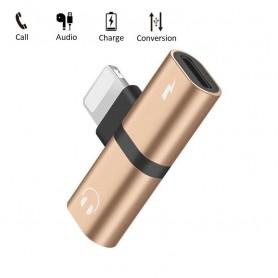 DrPhone Audio Splitter Adapter - 2 Lightning Poorten - Stereo Sound - Opladen + Audio - 2 in 1 - Voor iPhone en iPad - Goud