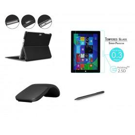 DrPhone PRO N4 - Surface Set - 4 in 1 - Surface PRO X Schermglas + 1024 Actieve pen + Opklapbare Muis + Smart Cover - Zwart