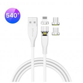 DrPhone OMNIA 540° - 3 in 1 (Micro USB / Lightning / USB-C) Magnetische Oplaadkabel - Oplader 9V Kabel - Wit