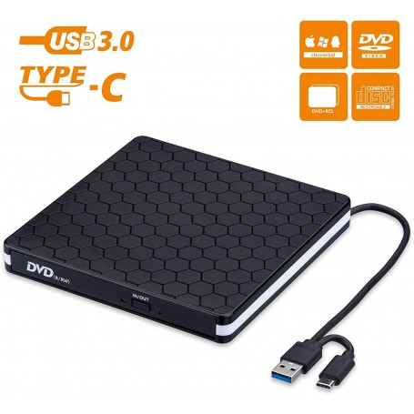 DrPhone DW3 Draagbaar Externe CD DVD +/- RW Optische drive - USB 3.0 & Type-C - Brander - Rewriter - Writer Reader – Zwart
