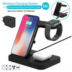 DrPHone LEGEND3 Qi Draadloze oplader - 5-in-1 oplaadstation voor o.a Apple Watch, AirPods Pro / 2 - Galaxy Buds & Galaxy Watch