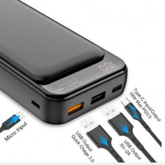 DrPhone PW5 Power Bank 20000mAh – 18W- Qualcom 3.0 - Type C PD ( Power Delivery) Opladen met LED Display Scherm