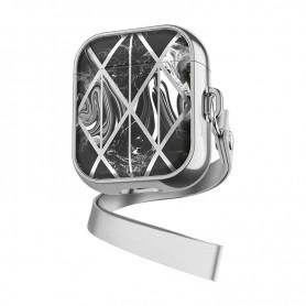 DrPhone - PL2 - Airpod Pro Case - Beschermende Case – Materiaal: Silicone & Plastic - Bruin – Zilver
