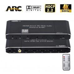 DrPhone HDMI Switch 4x1 HDMI Audio Extractor 4K @ 60Hz met Optische SPDIF / Coaxial / 3.5mm HDMI 2.0b HDCP 2.2 ARC Functie
