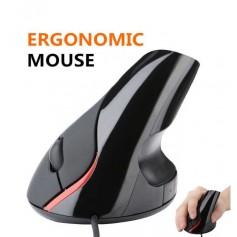 DrPhone ERGO3 - Ergonomische Optische USB Verticale Muis (Bedraad) – DPI 1600 – 5 Knoppen - Plug & Play – Zwart