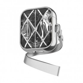DrPhone PL2 - Airpods Marmer Patroon Case - Beschermende Case – Silicone & TPU Cover - Zwart – Zilver