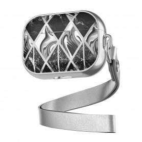 DrPhone PL2 - Airpods Pro Marmer Patroon Case - Beschermende Case – Silicone & TPU Cover - Zwart – Zilver