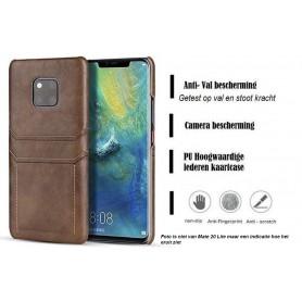 DrPhone Huawei Mate 20 Lite Luxe Kaarthouder Case - Premium PU lederen Backcover - Zwart
