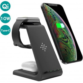 DrPhone T3 Pro – 3 In 1 - Draadloze Oplader – Apple Watch – Apple Airpods – iPhone – Stand - + 18W QC 3.0 Adapter - Zwart