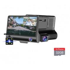 DrPhone DASH2 - DashCam Video CarDVR – Nachtzicht - 3 Lens HD Camera & Video – 5MP – 4inch HD Display – Achteraanzicht