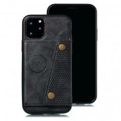 DrPhone LPU Iphone 11 Pro- Luxe PU - Lederen Siliconen Case – Iphone 11 Pro- magneet functie -kaarthouder – zwart