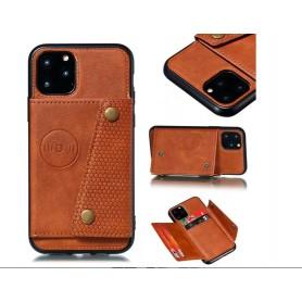 DrPhone LPU – Huawei P40 PRO Luxe PU Lederen Siliconen Case – Huawei - Magneet Functie -Kaarthouder – Bruin