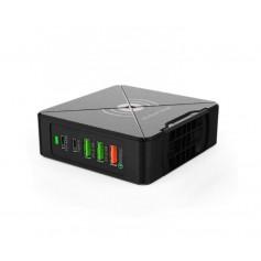 DrPhone WL5 USB-wandoplader- PD 3.0 - 75W - 5-poorten + Draadloos Oplader (PD-45W, Type-C, QC3.0 en 5V-2.4A)