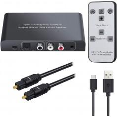 DrPhone DAAC1 Digitaal naar Analoog Audioconverter met IR-afstandsbediening - 192 kHz –DAC converter – 24Bit & Geluidsversterker