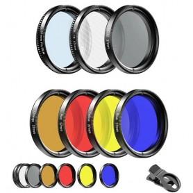 DrPhone APL 7 in 1 Camera Filter lenskit – 37mm - Filterlens-rood oranje geel blauw, CPL, ND32, sterlens