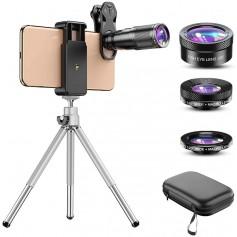 DrPhone APL6 Telefoonlenskit 6 in 1 - 22x telelens, 205 ° fisheye-lens, 120 ° groothoeklens en 25x macrolens