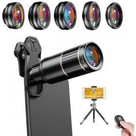DrPhone APL8 Telefoon Camera lenskit + Statief + 16X telezoomlens / Groothoek / Macro / Fisheye / Caleidoscoop / CPL