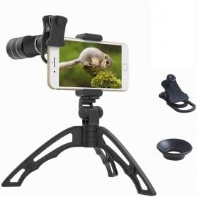 DrPhone APL5 Professionele cameralens - 20X Telezoom Lens Draagbare 20x Monoculaire Telescoop Lens met (Selfie)Statief