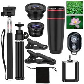 DrPhone APL3 – 12x Telelens / Fisheye /Macro & Groothoek + Statief + Bluetooth sluiter+ Selfie Stick Monopod