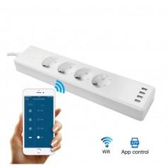 DrPhone WSPS 01 – Smart Stekkerblok – Alexa – Google Home – IFTTT - Mobiele App - 4 EU stekkers - 4 USB Poorten - Wit