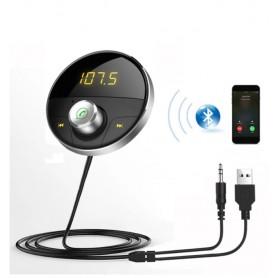 DrPhone BC02 - Bluetooth Car Kit – FM Radio - Handsfree Bellen – LED Display – USB Lader – AUX- + Autolader -