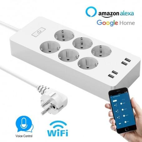 DrPhone SPS2 - WiFi Powerstrip – 6 Stekkers - Smart Stekkerdoos – Google Assistant / Alexa - Stem bediening