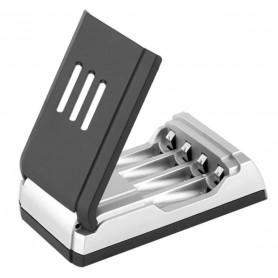 DrPhone IT05 - 4 Poorten Batterij Oplader – Led Display - Battery Charger – Zwart