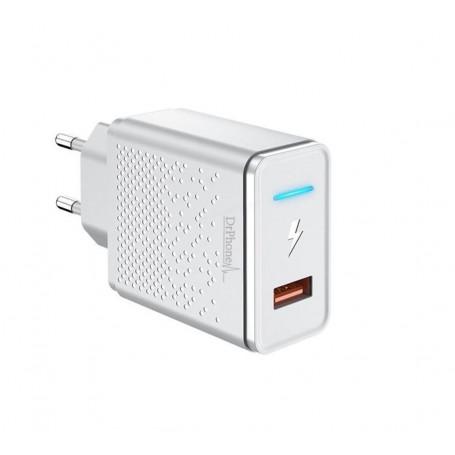 DrPhone HALO - 9V Thuislader - Adapter - Snel Lader Intelligente LED – Reislader - Voor Samsung / Apple iPhone / Huawei - Wit