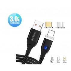 DrPhone Echo Series 3 in 1 - Magnetische Micro-USB/ USB C & Lightning 3A Snellader-2M-Oplaadkabel+ Data & Led– Zwart