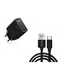 DrPhone HALO-X-Switch - 18W Lader met 2 Meter Lange Gevlochten Kabel - Oplaadkabel voor Nintendo Switch / Switch Lite
